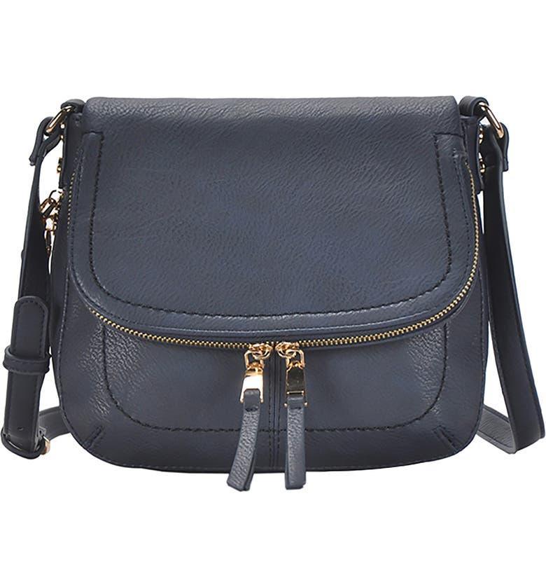 ANTIK KRAFT Faux Leather Crossbody Bag, Main, color, NAVY