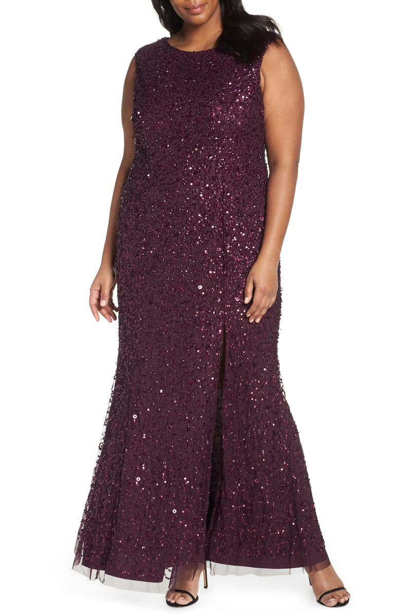 Adrianna Papell Sequin Evening Dress (Plus Size) | Nordstrom