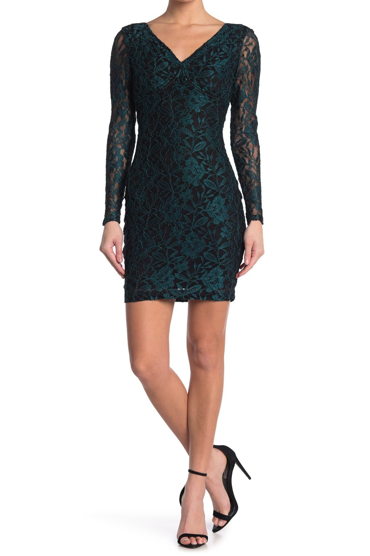 Image of GUESS Contrast Lace Mini Dress