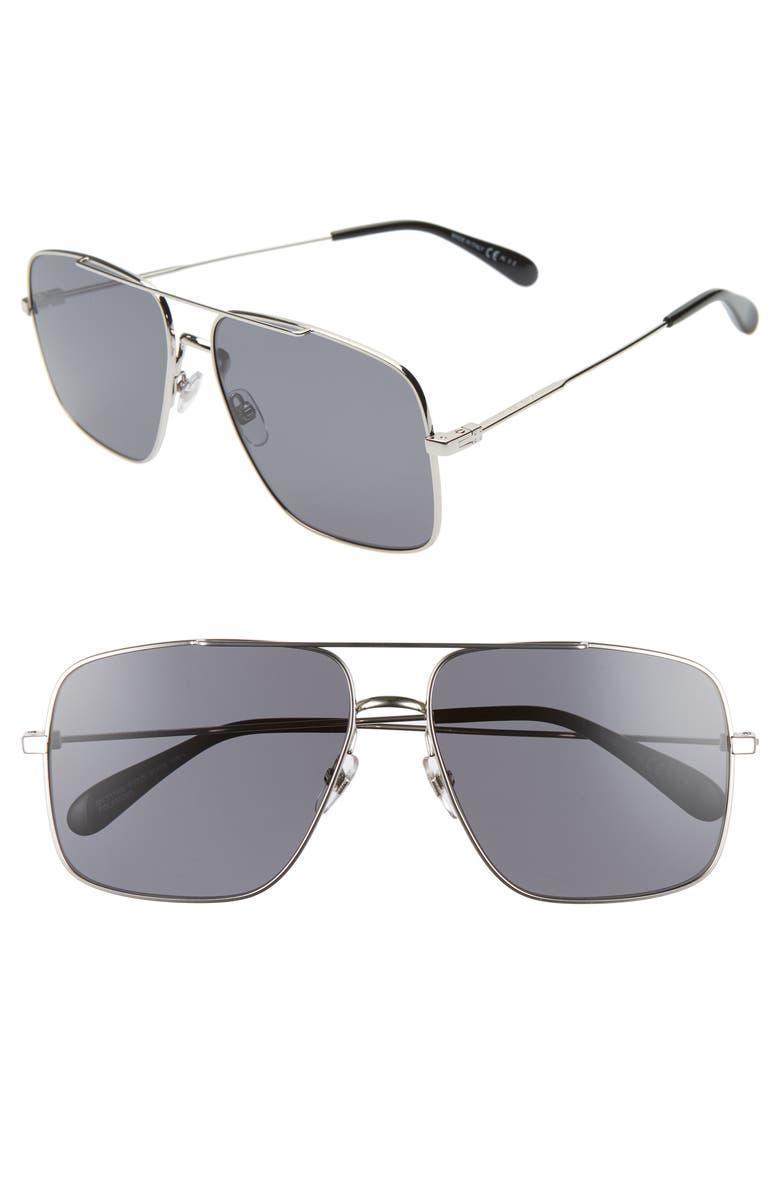 GIVENCHY 61mm Polarized Square Sunglasses, Main, color, PALLADIUM