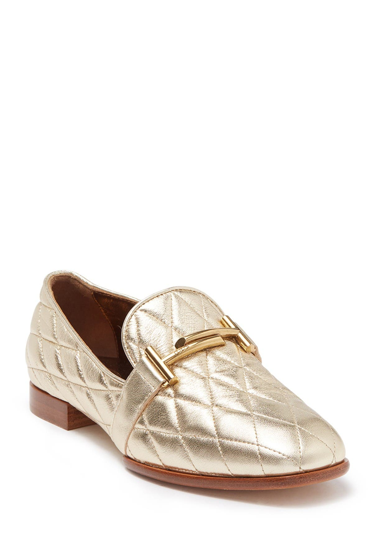 Image of Tod's Metallic Quilted Leather Bit Loafer