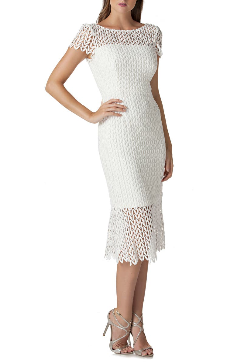KAY UNGER Floral Lace Midi Dress, Main, color, IVORY