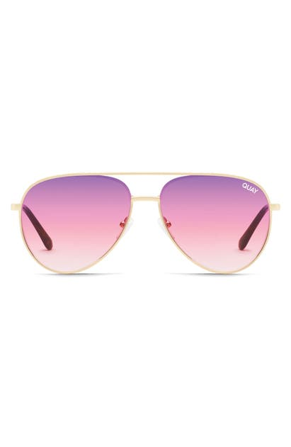 Quay X Lizzo Starry Eyed 52mm Aviator Sunglasses In Gold/ Purple Pink Fade