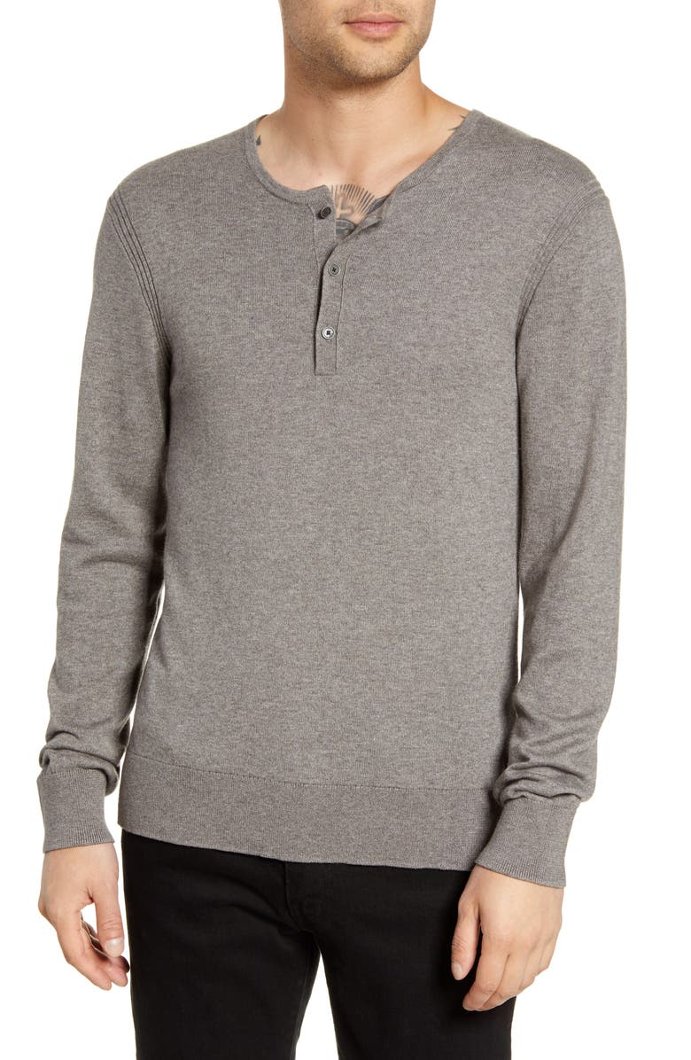 JOHN VARVATOS STAR USA Provo Henley Sweater, Main, color, NICKEL