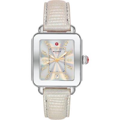 Michele Deco Diamond Sport Watch Head & Leather Strap, mm