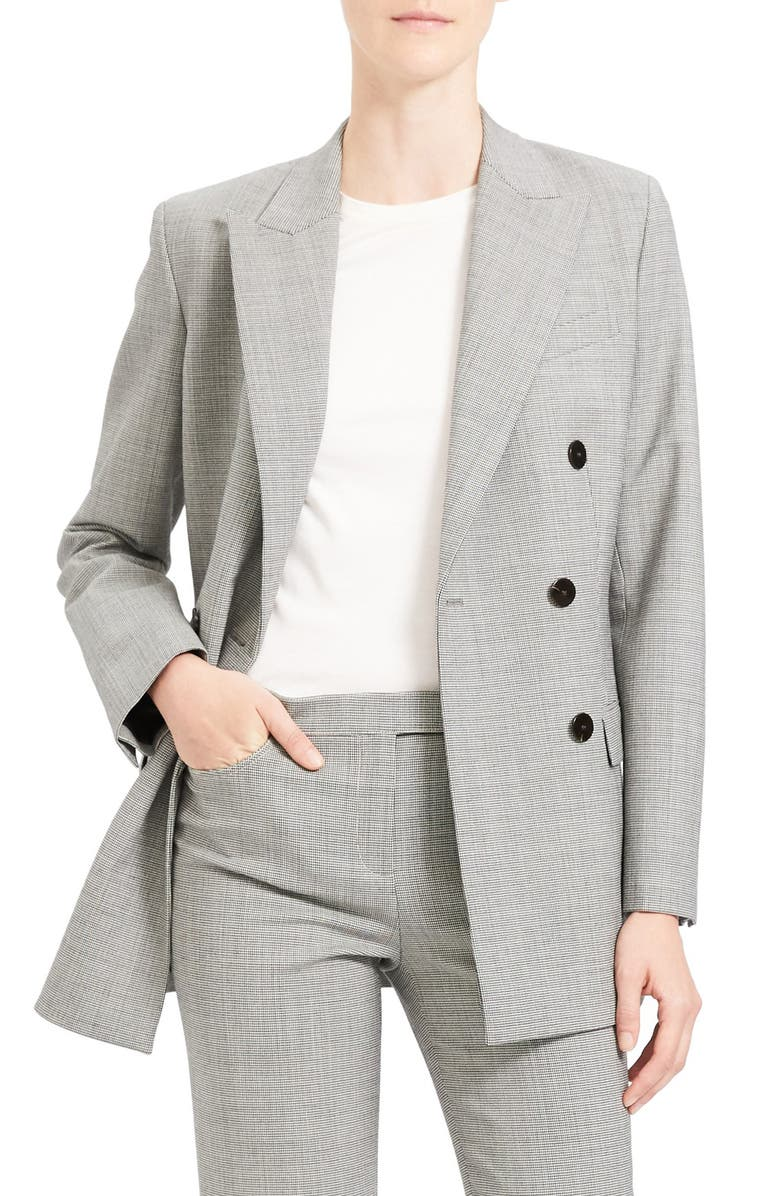 THEORY Double Breasted Stretch Wool Suit Jacket, Main, color, BLACK MULTI