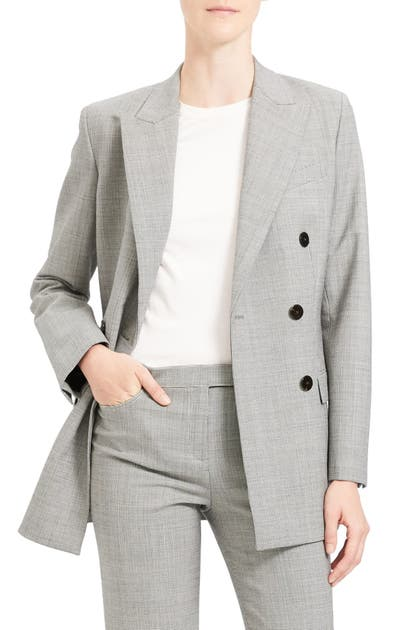Theory Jackets DOUBLE BREASTED STRETCH WOOL SUIT JACKET