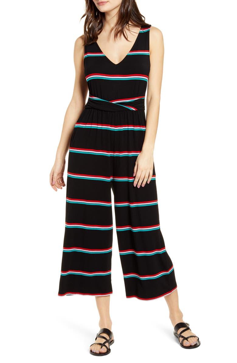 BP. Wrap Waist Crop Wide Leg Jumpsuit, Main, color, BLACK DANI STRIPE