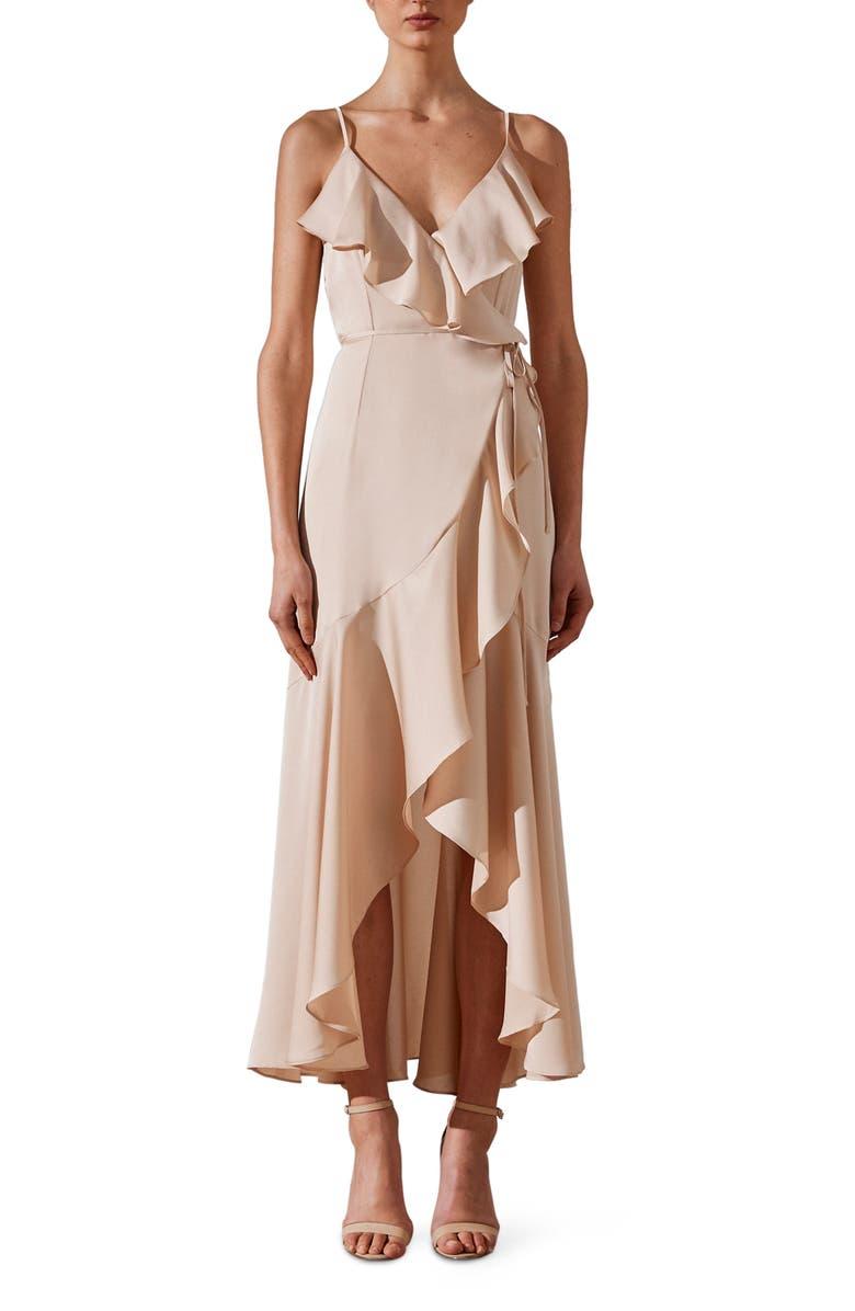 SHONA JOY Luxe Ruffle Trim Wrap Gown, Main, color, CHAMPAGNE
