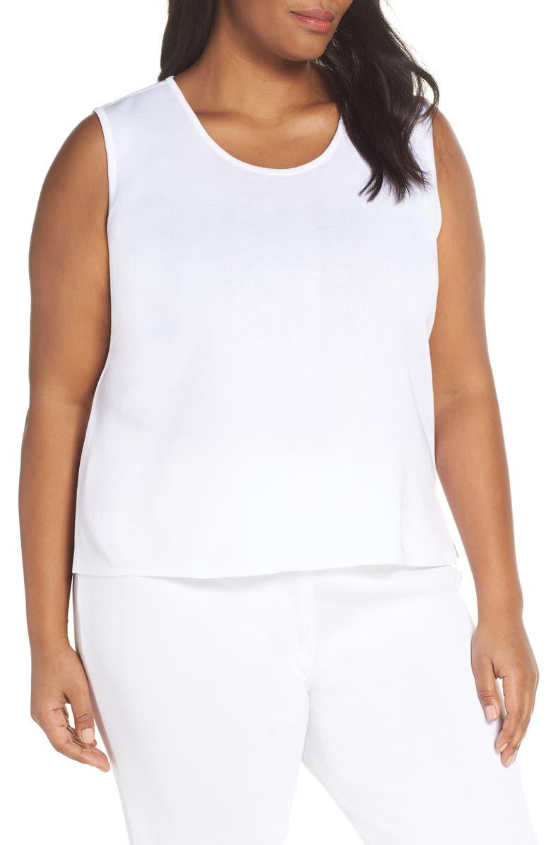 MING WANG Knit Tank, Main, color, WHITE