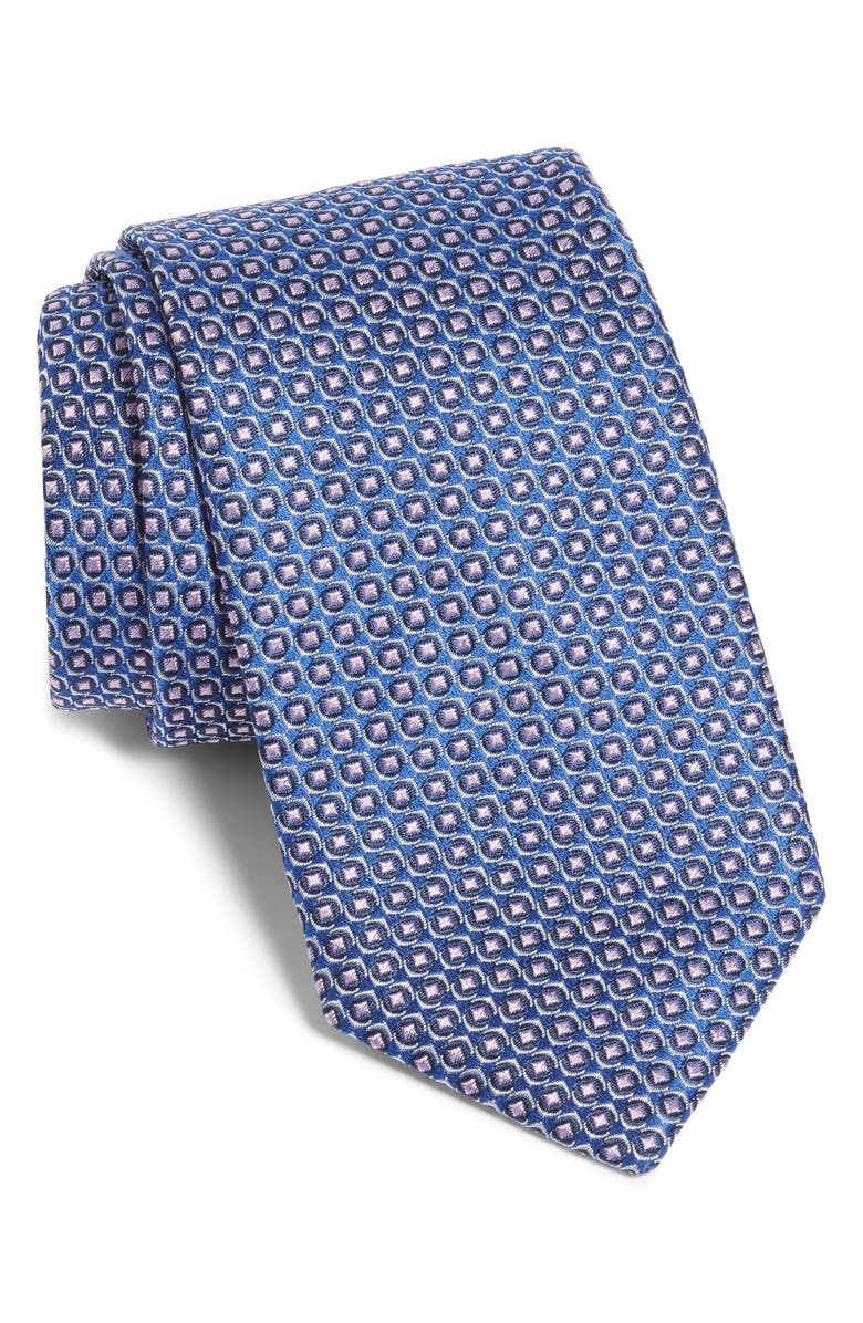 BOSS Geometric Silk Tie, Main, color, BLUE