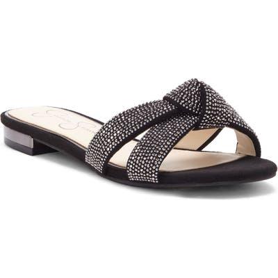 Jessica Simpson Alisen Crystal Embellished Slide Sandal, Black
