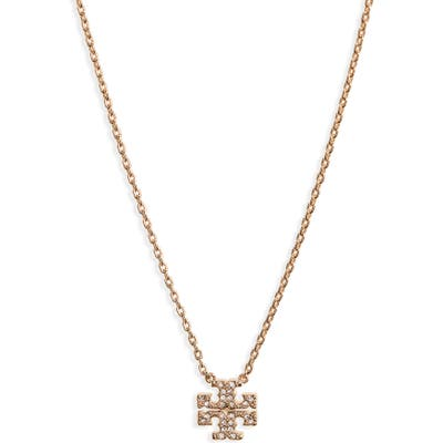Tory Burch Pave Logo Charm Necklace