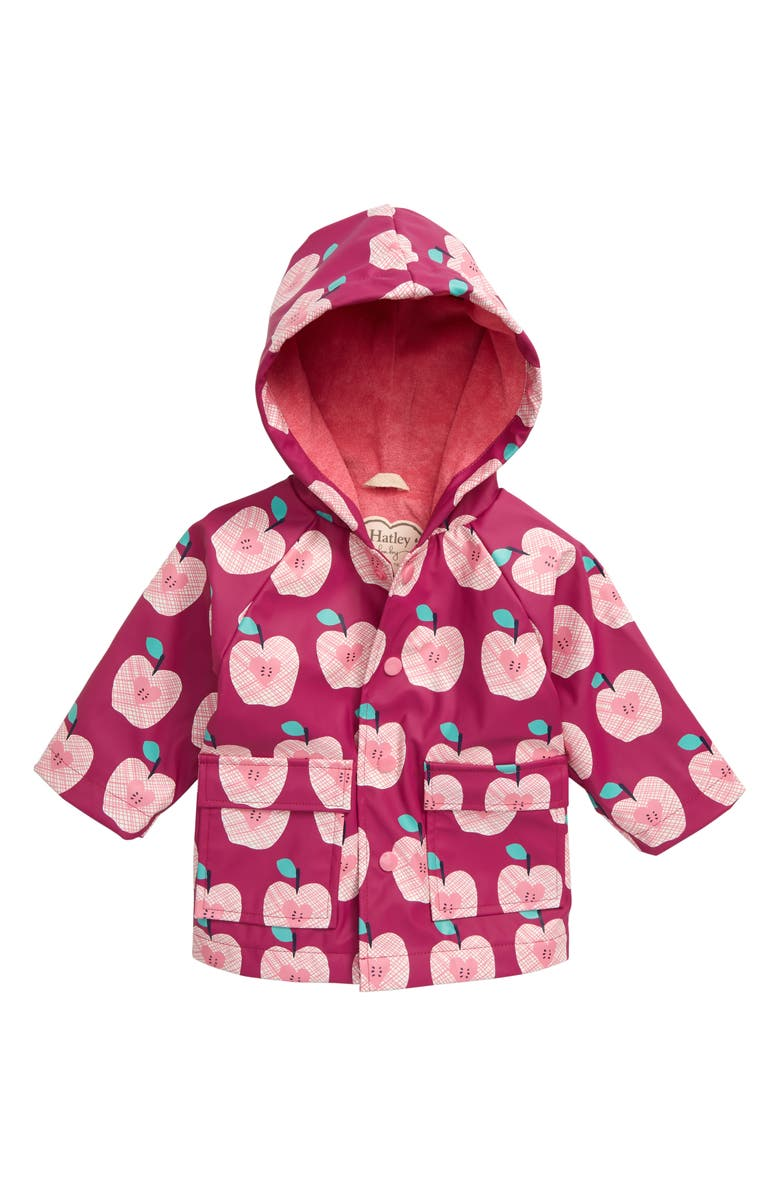HATLEY Apple Orchard Waterproof Hooded Raincoat, Main, color, PINK