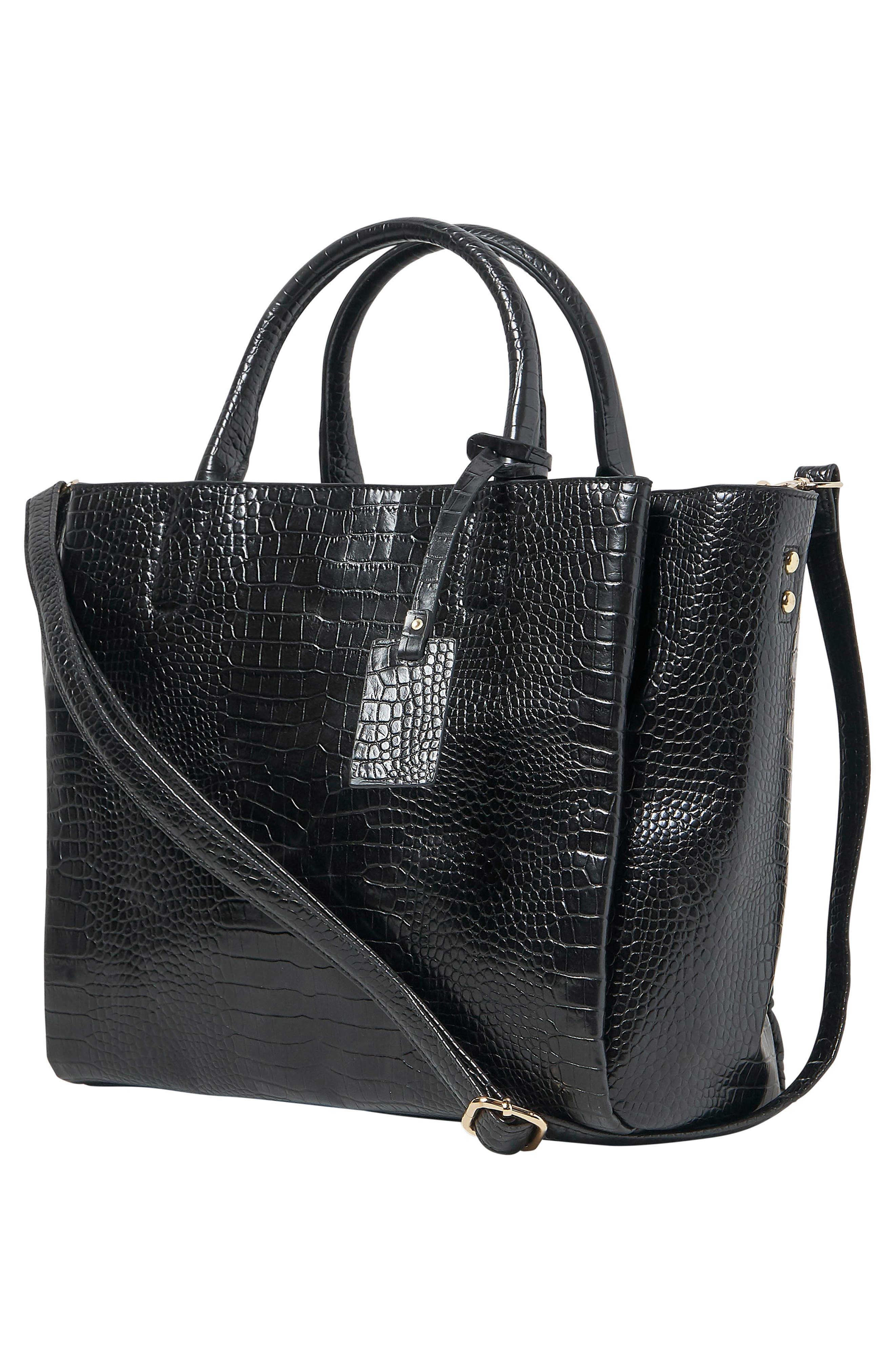 ,                             My World Croc-Embossed Vegan Leather Tote,                             Alternate thumbnail 4, color,                             BLACK