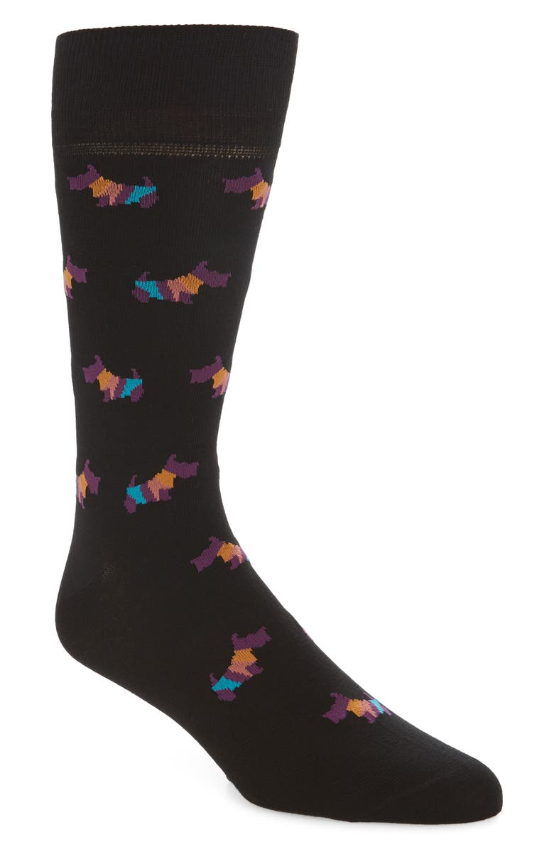 PAUL SMITH Artist Dog Socks, Main, color, BLACK