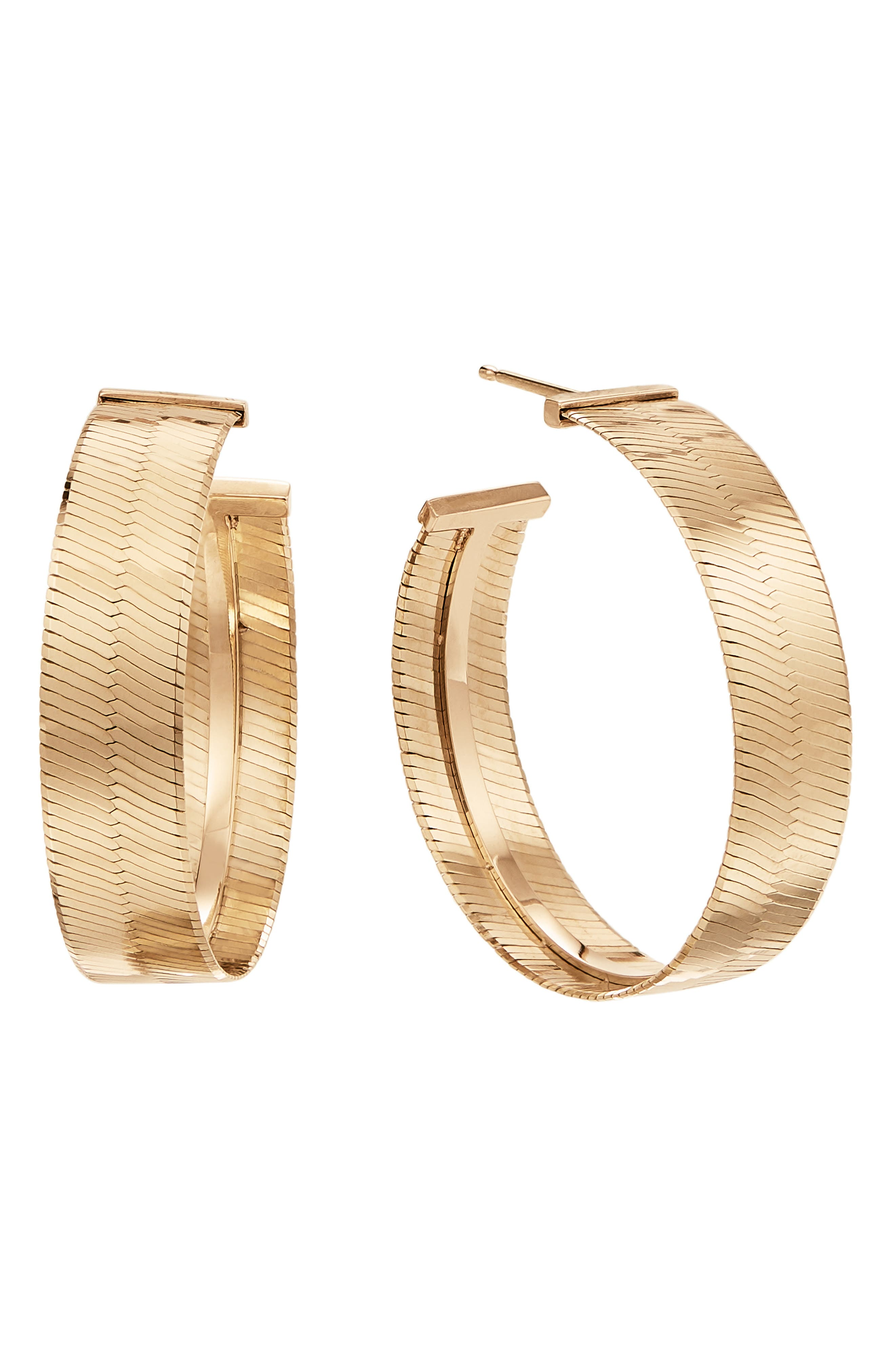 Women's Lara Jewelry Herringbone Hoop Earrings