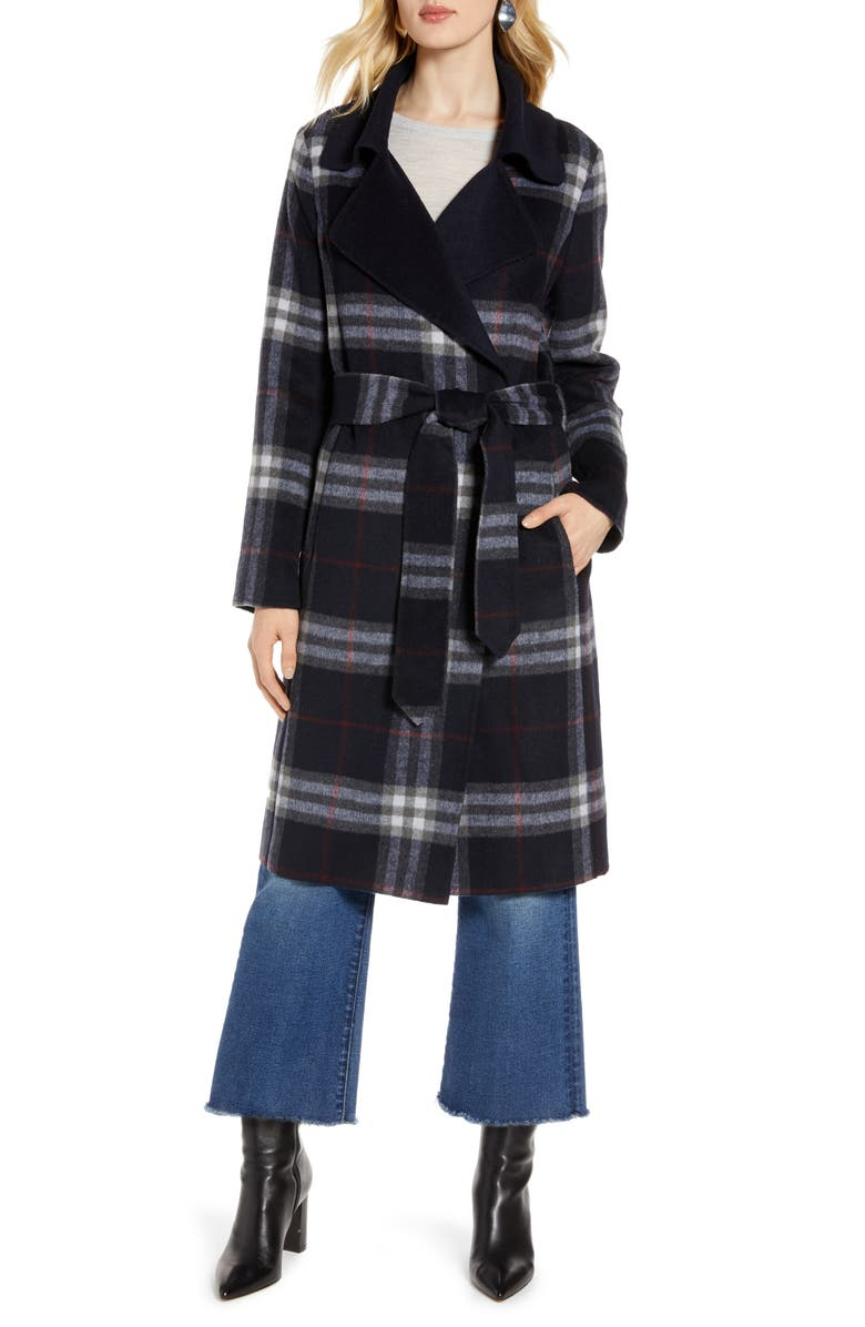 HALOGEN<SUP>®</SUP> Plaid Belted Coat, Main, color, NAVY PLAID