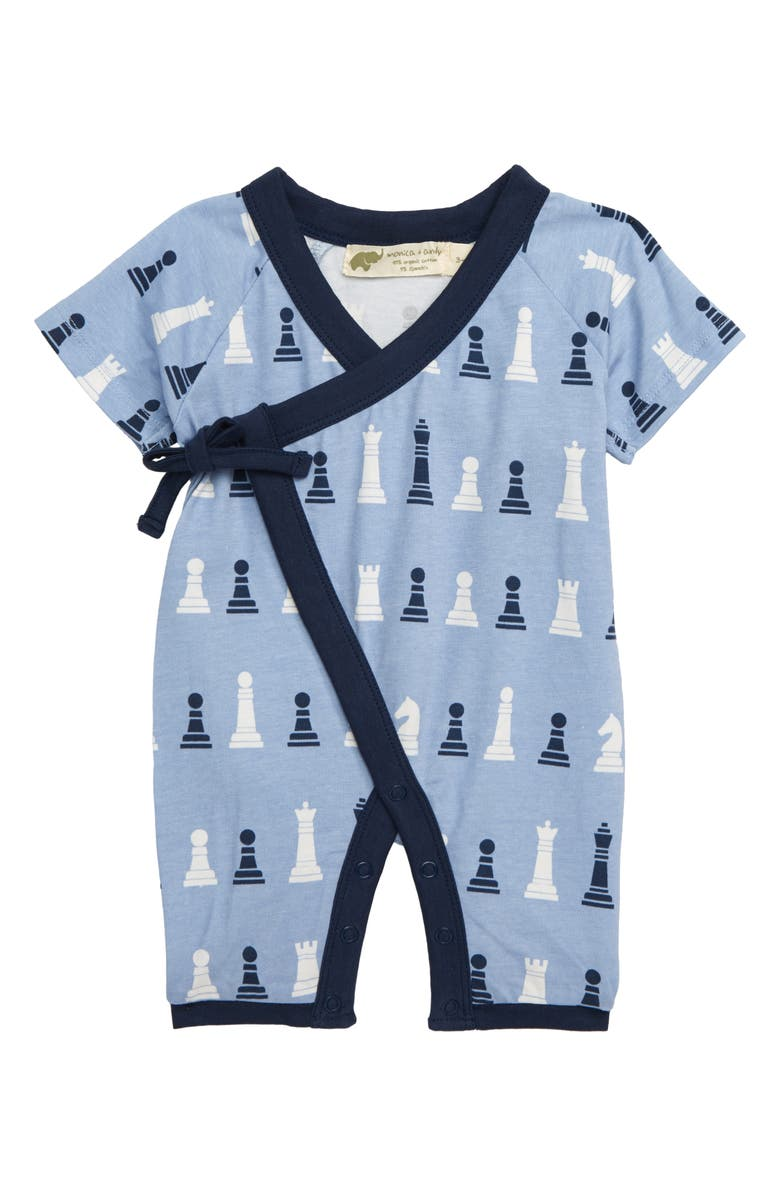 MONICA + ANDY Sweet Baby Wrap Romper, Main, color, CHESS MASTER