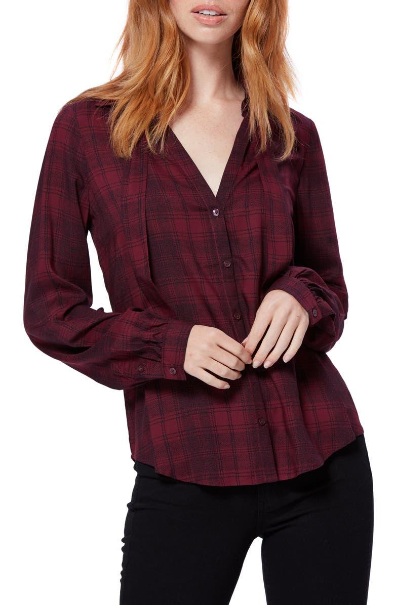 PAIGE Taryn Tie Neck Plaid Shirt, Main, color, BURGUNDY/ BLACK