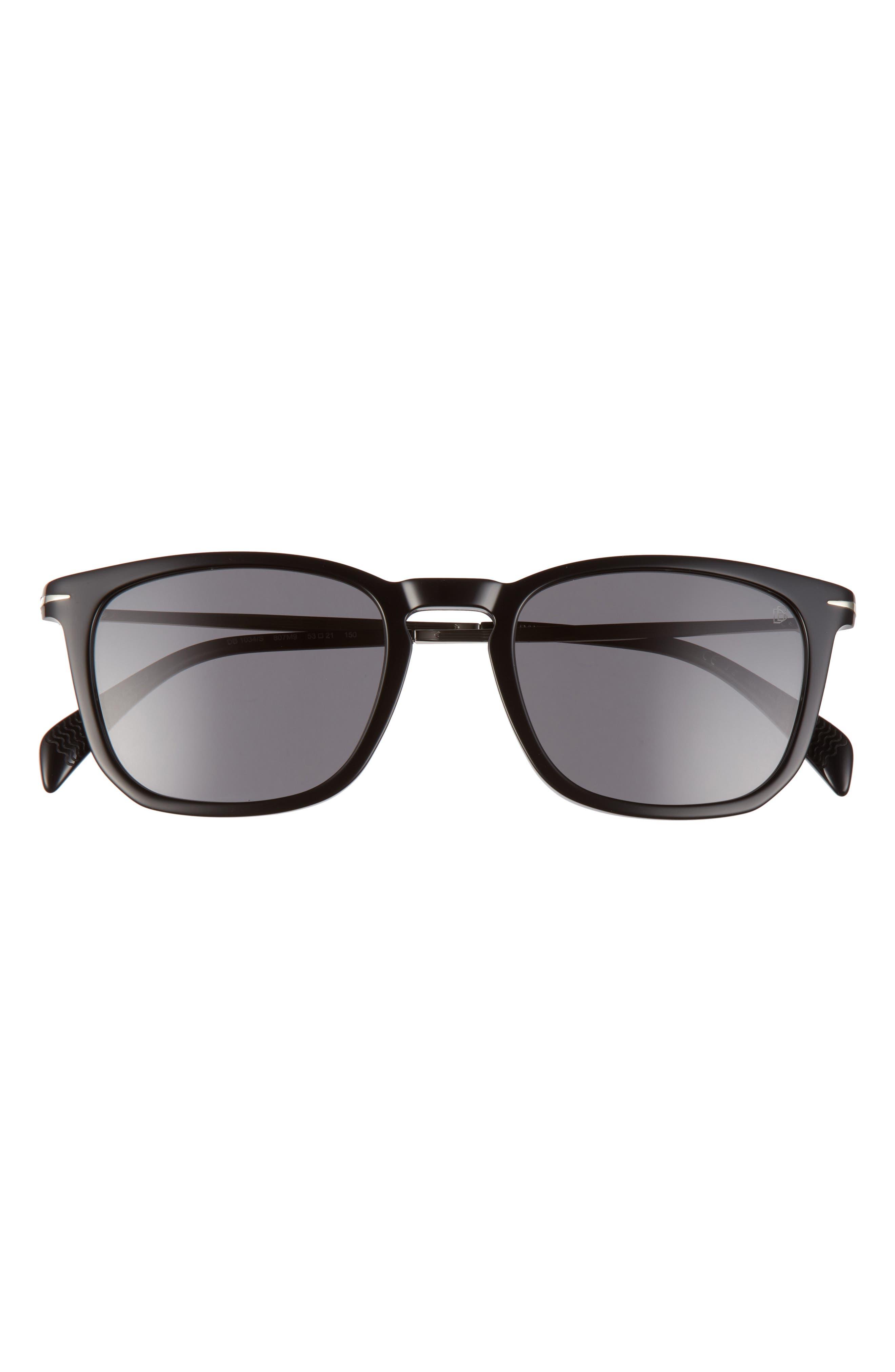 Men's Eyewear By David Beckham 53mm Polarized Rectangular Sunglasses