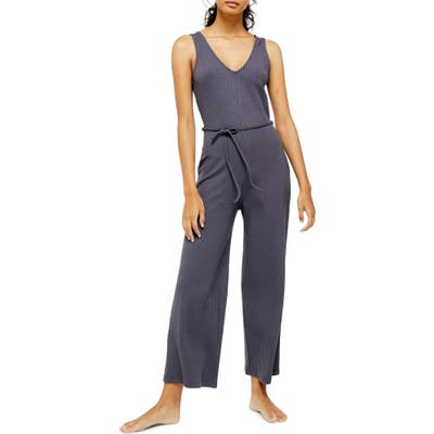Topshop Rib Knit Jumpsuit, Grey