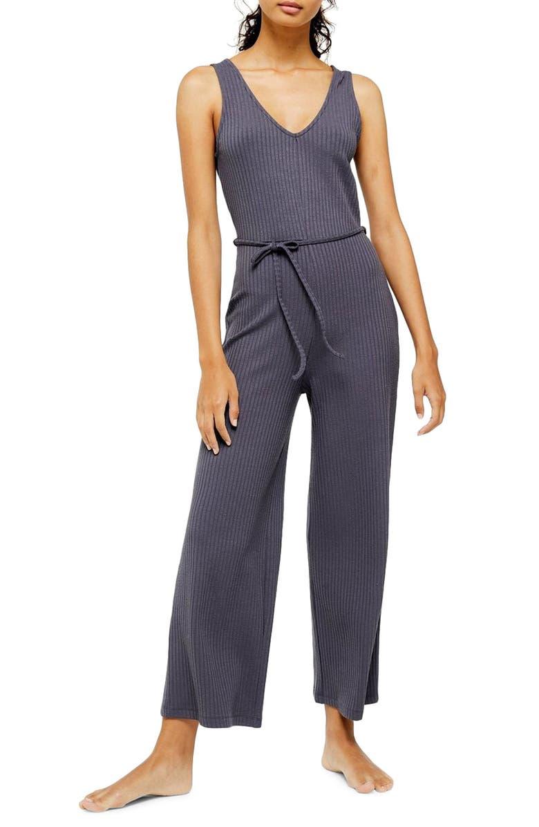 TOPSHOP Rib Knit Jumpsuit, Main, color, 020