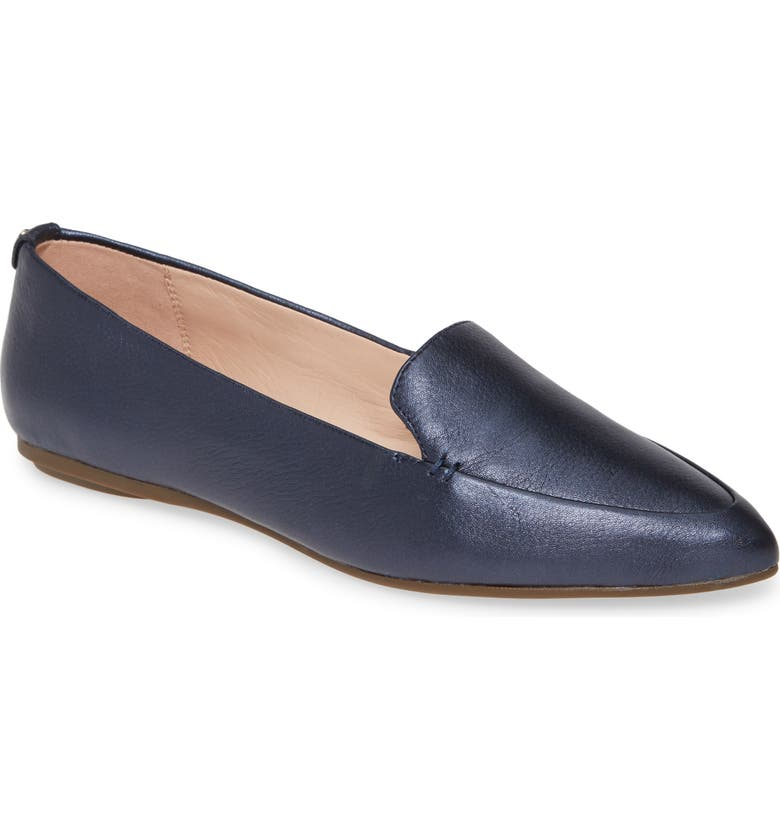TARYN ROSE Faye Pointy Toe Loafer, Main, color, MIDNIGHT LEATHER