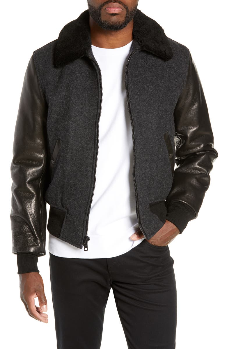 SCHOTT NYC Mixed Media B-15 Flight Jacket with Genuine Shearling Collar, Main, color, DARK OXFORD