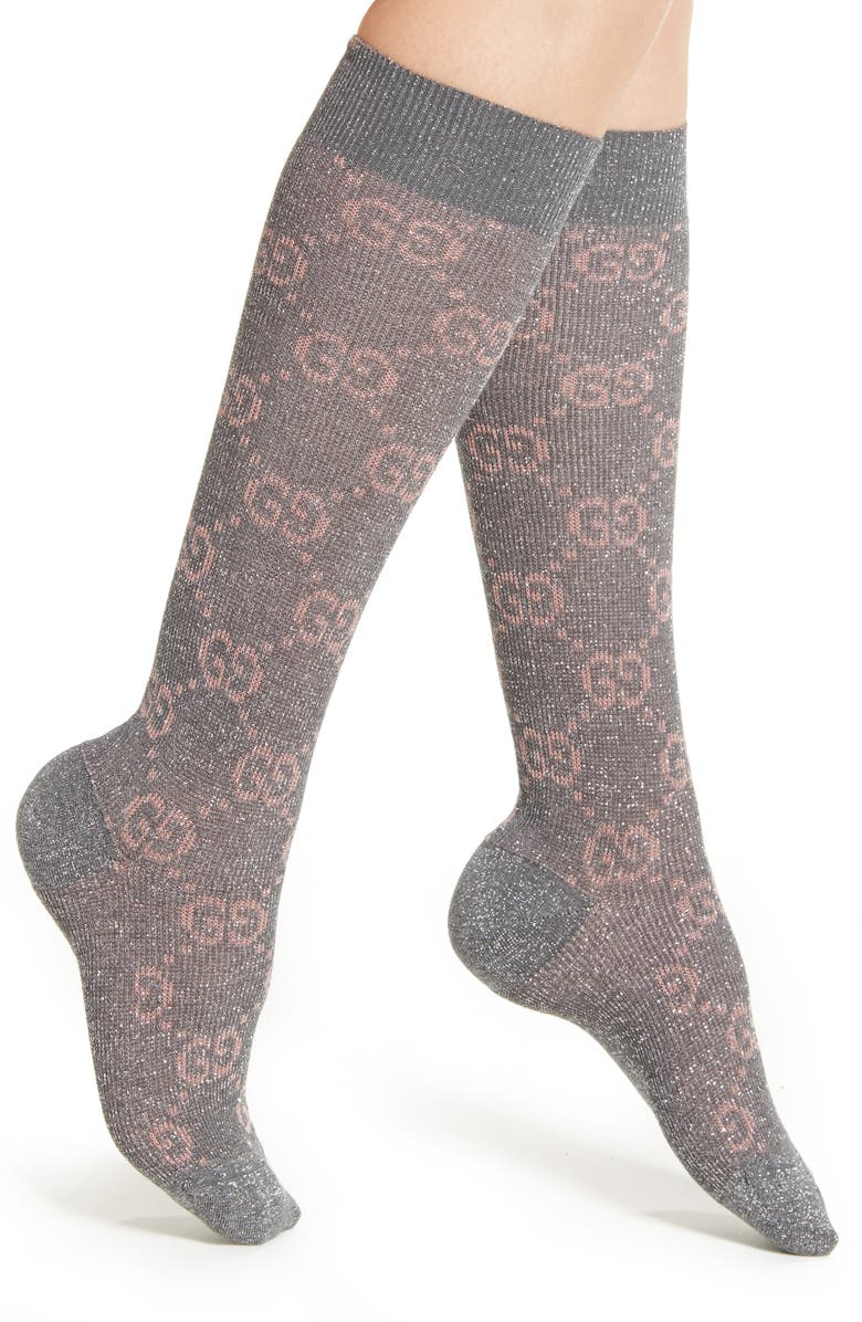 GUCCI Logo Socks, Main, color, FLANNEL/ PINK