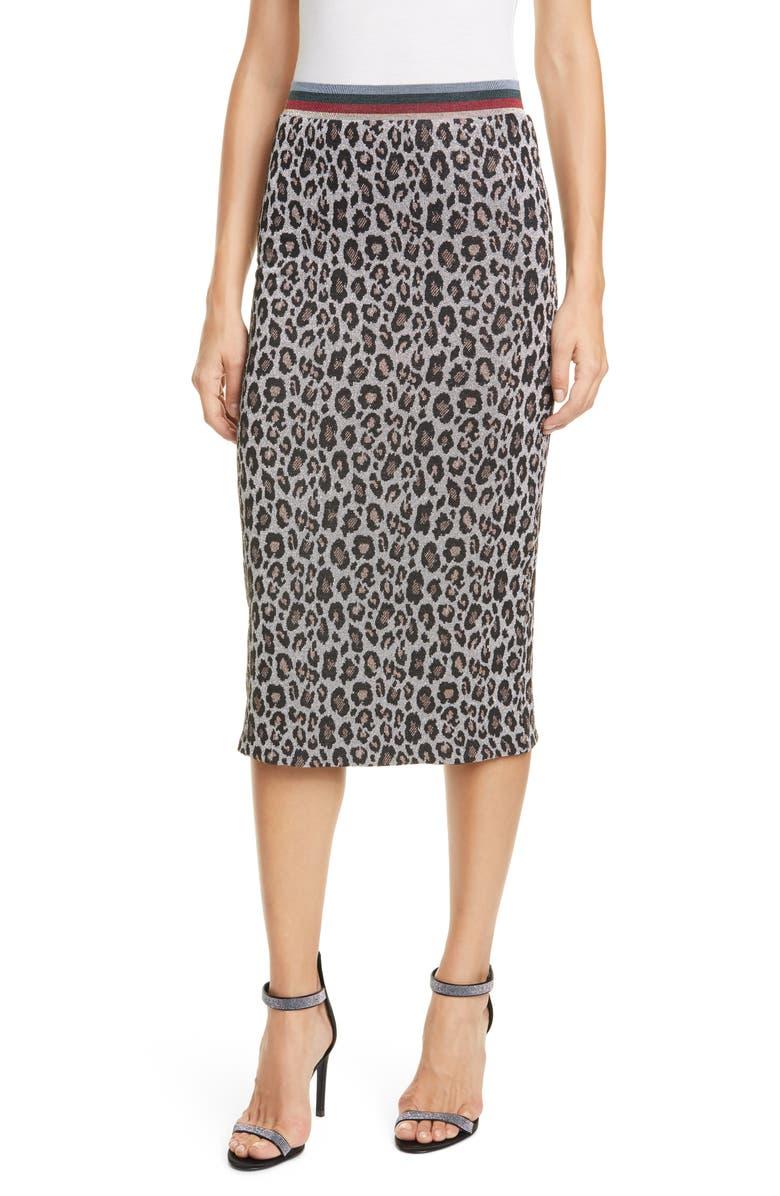 LE SUPERBE Liza Metallic Leopard Jacquard Sweater Skirt, Main, color, MAS LPD SIL KNIT
