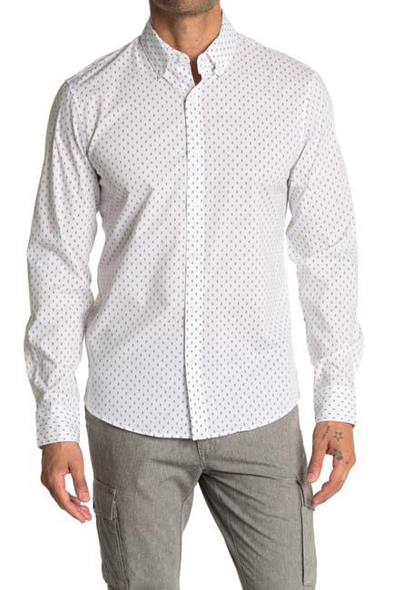 Image of Michael Kors Diamond Print Button-Down Slim Fit Sport Shirt