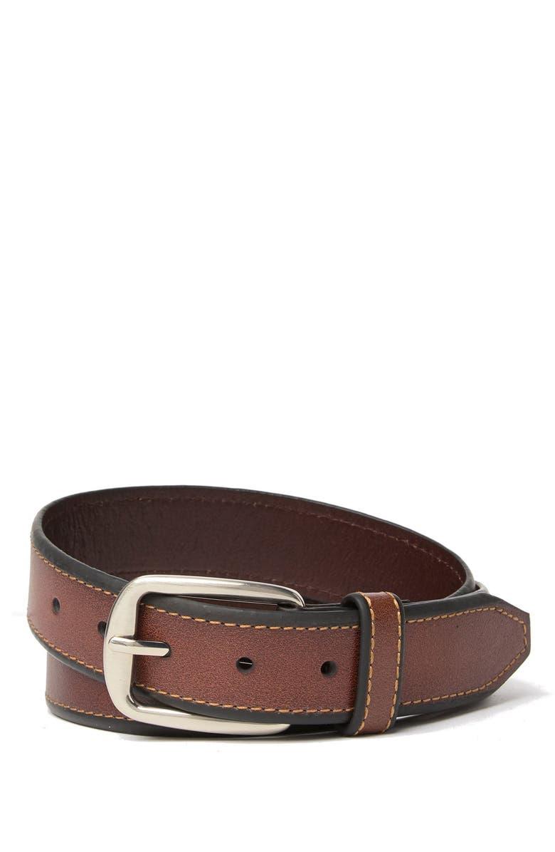 NORDSTROM MENS SHOP Fenny Bonded Leather Dress Belt, Main, color, BROWN