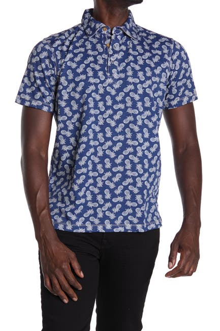 Image of Natural Blue Visitor Pineapple Print Polo