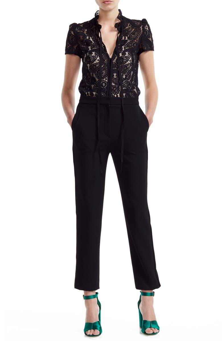 MAJE Palilo Paisley Lace Bodice Jumpsuit, Main, color, BLACK