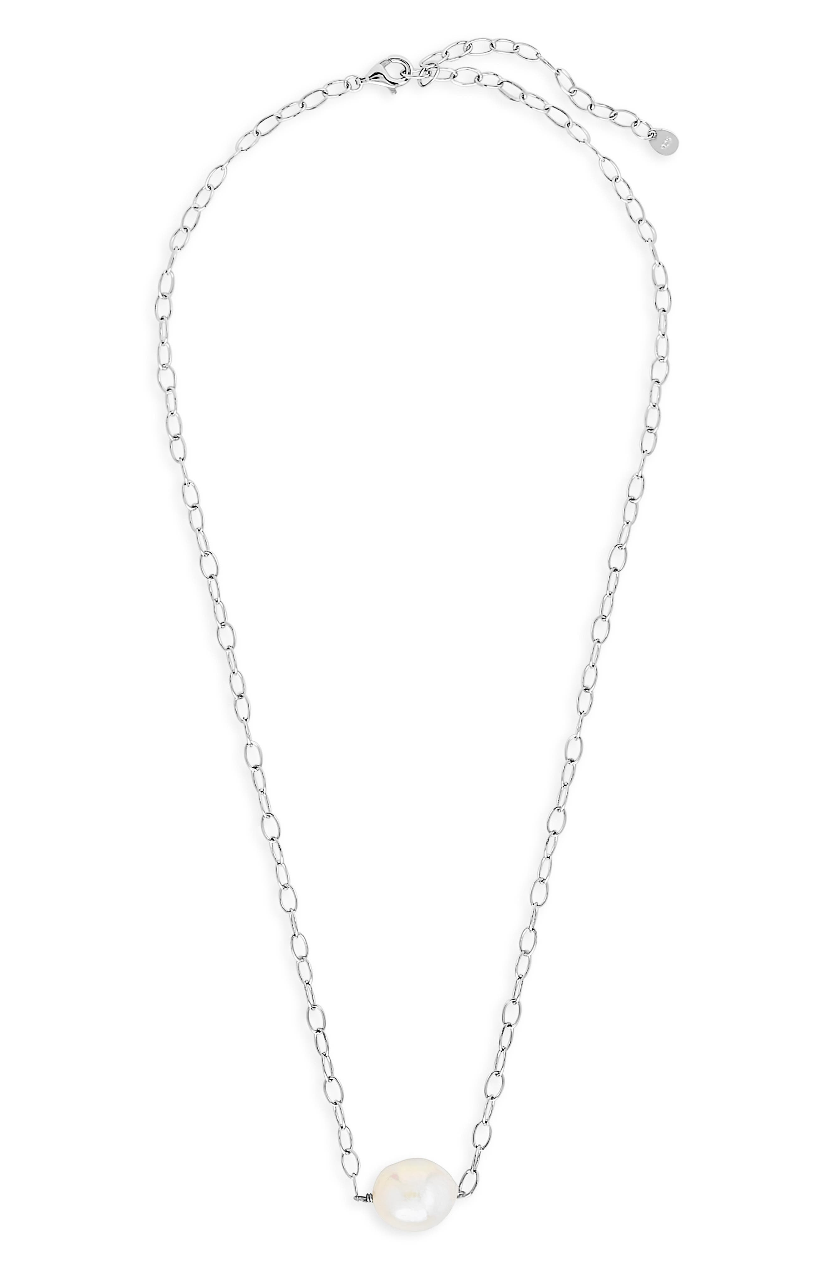 Simple adornments can be the sweetest selection as this fine-chained necklace set with a single natural pearl beautifully proves. Style Name: Sterling Forever Natural Pearl Pendant Necklace. Style Number: 6114390. Available in stores.