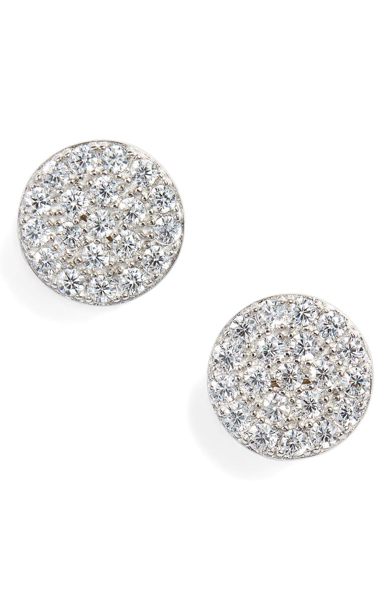 NORDSTROM Pavé Cubic Zirconia Disc Stud Earrings, Main, color, 040