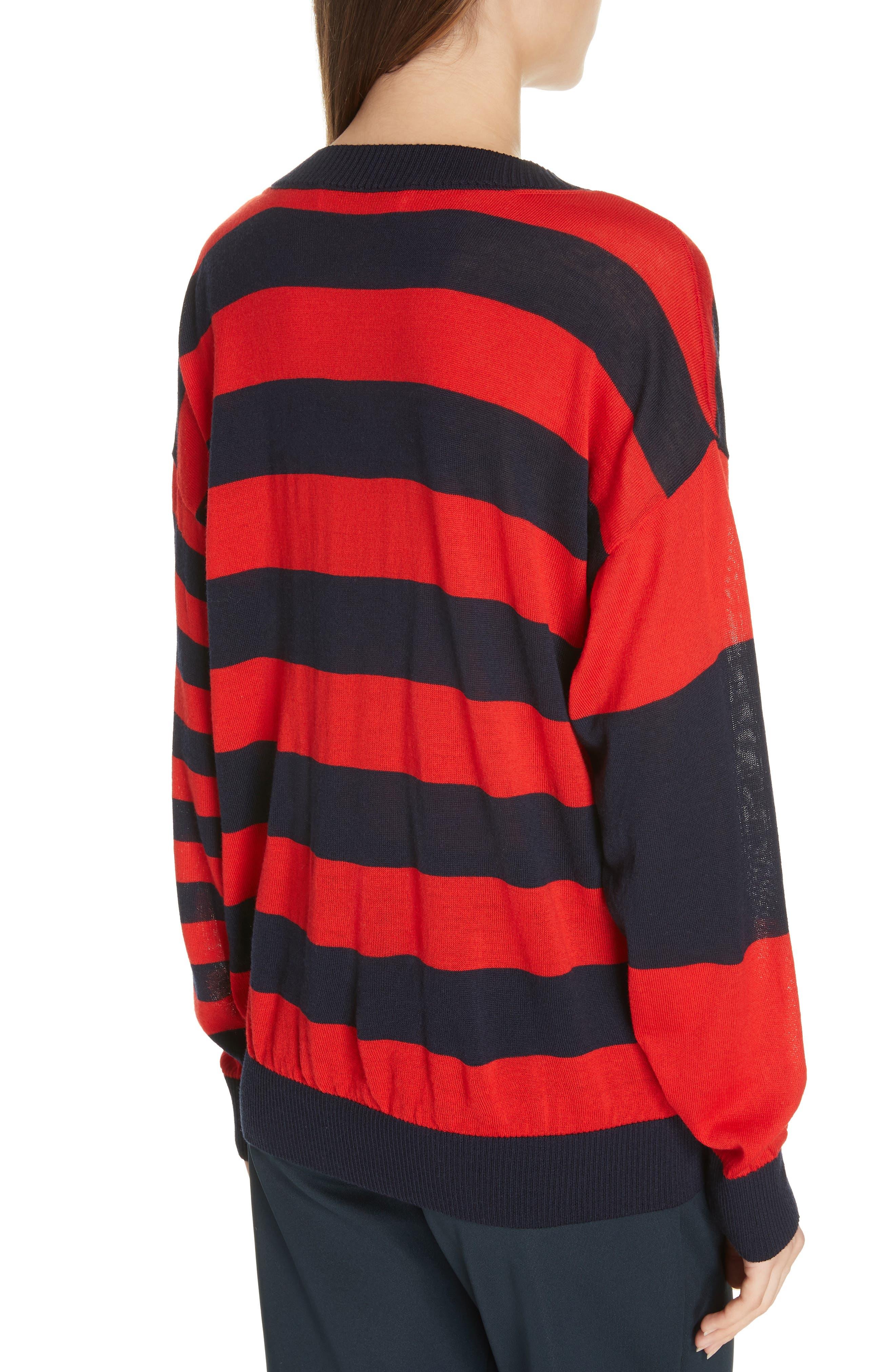 ,                             Stripe V-Neck Sweater,                             Alternate thumbnail 2, color,                             NAVY/ RED