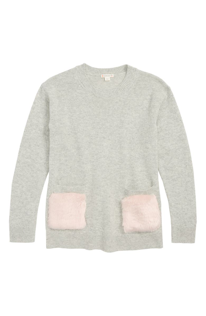 CREWCUTS BY J.CREW Faux Fur Trimmed Tunic Sweater, Main, color, 020