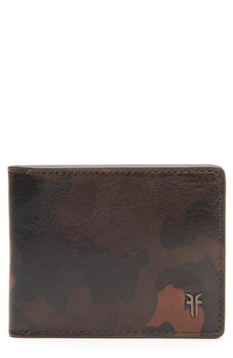 FRYE Austin ID Print Slim Leather Billfold, Main, color, CAMO