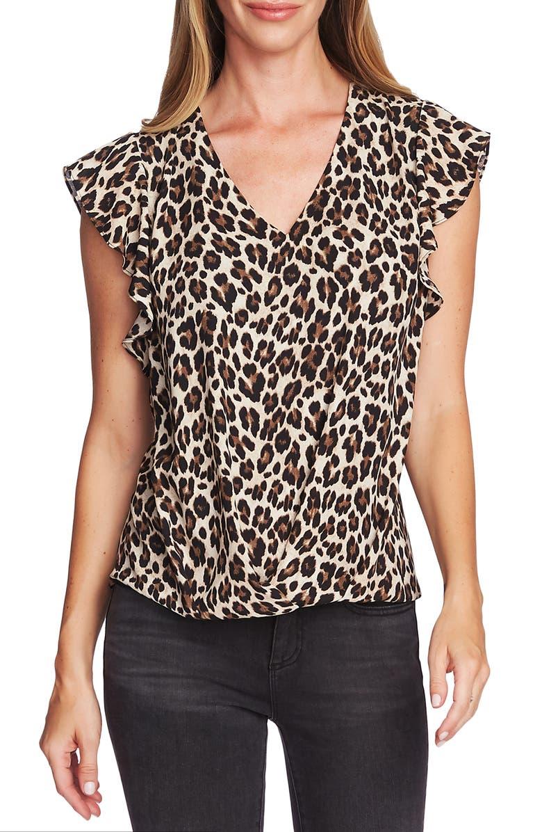 Vince Camuto Flutter Sleeve Leopard Print Top Regular Petite