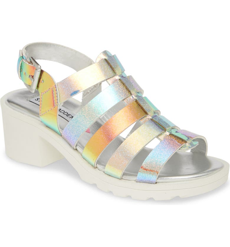 STEVE MADDEN JPuzzle Sandal, Main, color, IRRIDESCENT MULTI GLITTER