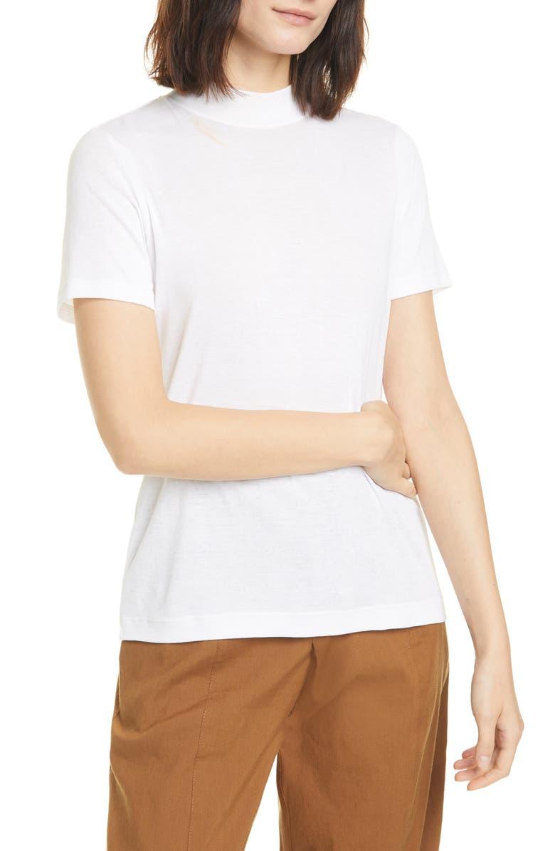 VINCE Mock Neck Short Sleeve Pima Cotton T-Shirt, Main, color, OPTIC WHITE