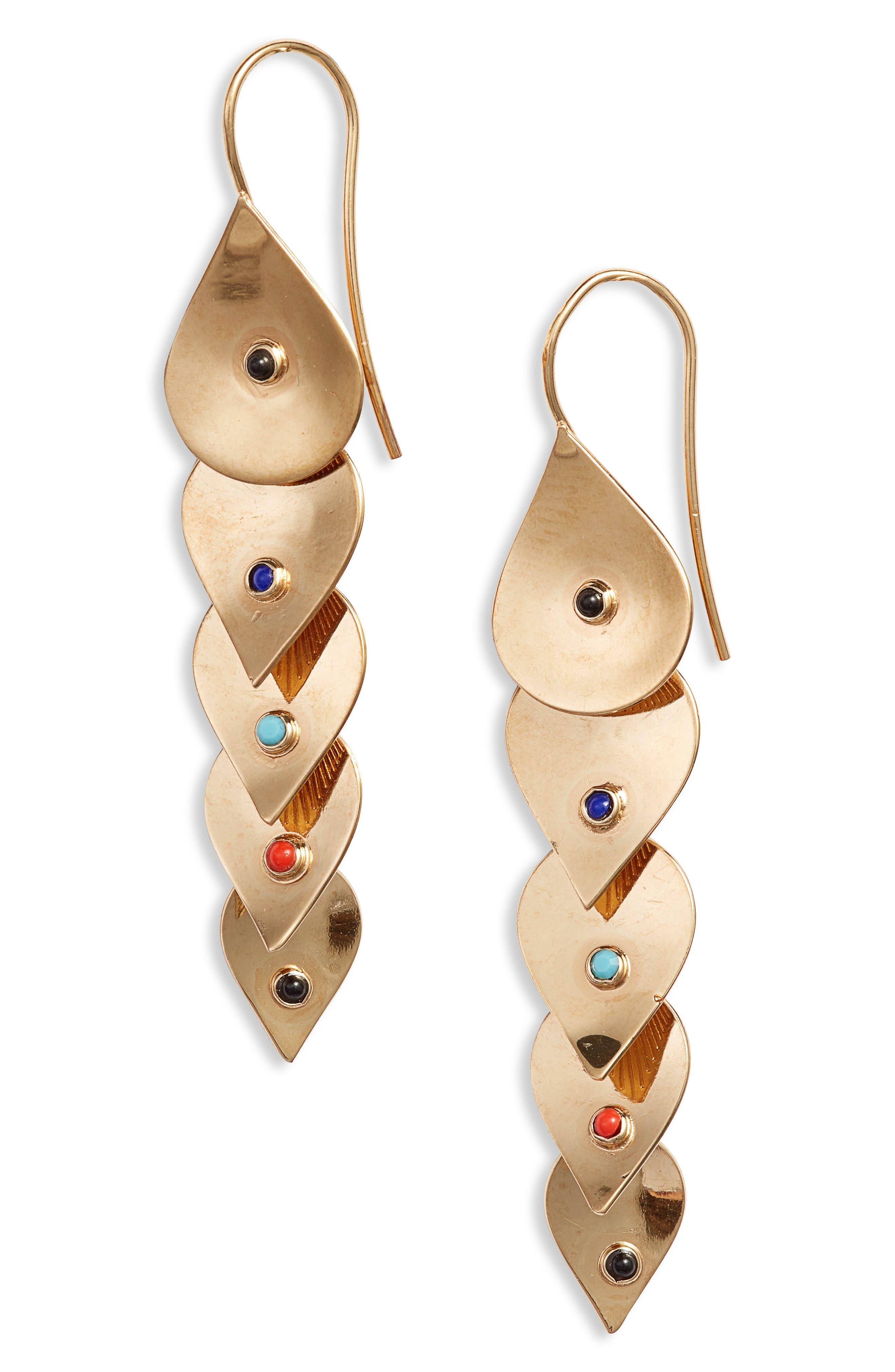 Pan Drop Earrings, Main, color, MULTI/ GOLD