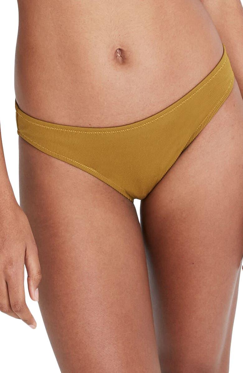 MADEWELL Second Wave Rib Classic Bikini Bottoms, Main, color, SPICED OLIVE