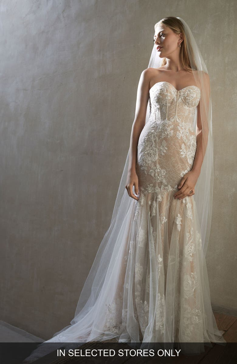WATTERS Ibis Strapless Mermaid Lace Wedding Dress, Main, color, IVORY/ NUDE