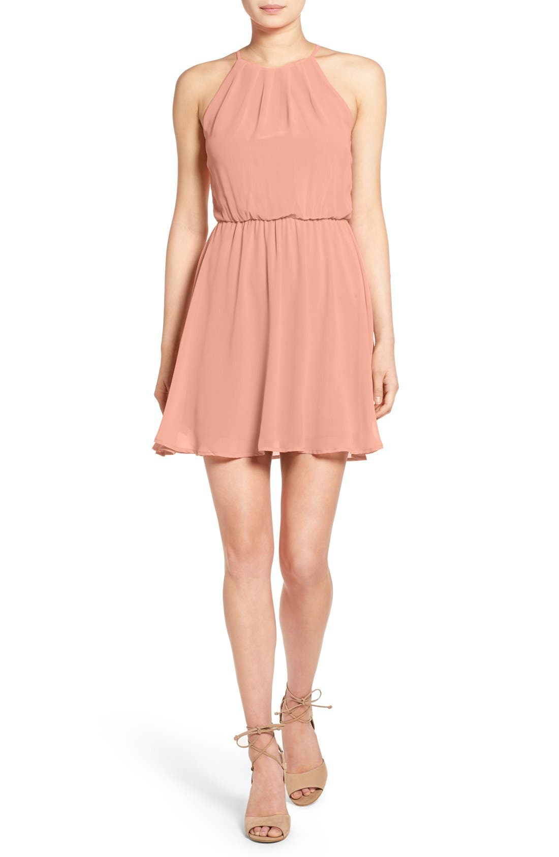 ,                             Blouson Chiffon Skater Dress,                             Main thumbnail 75, color,                             652