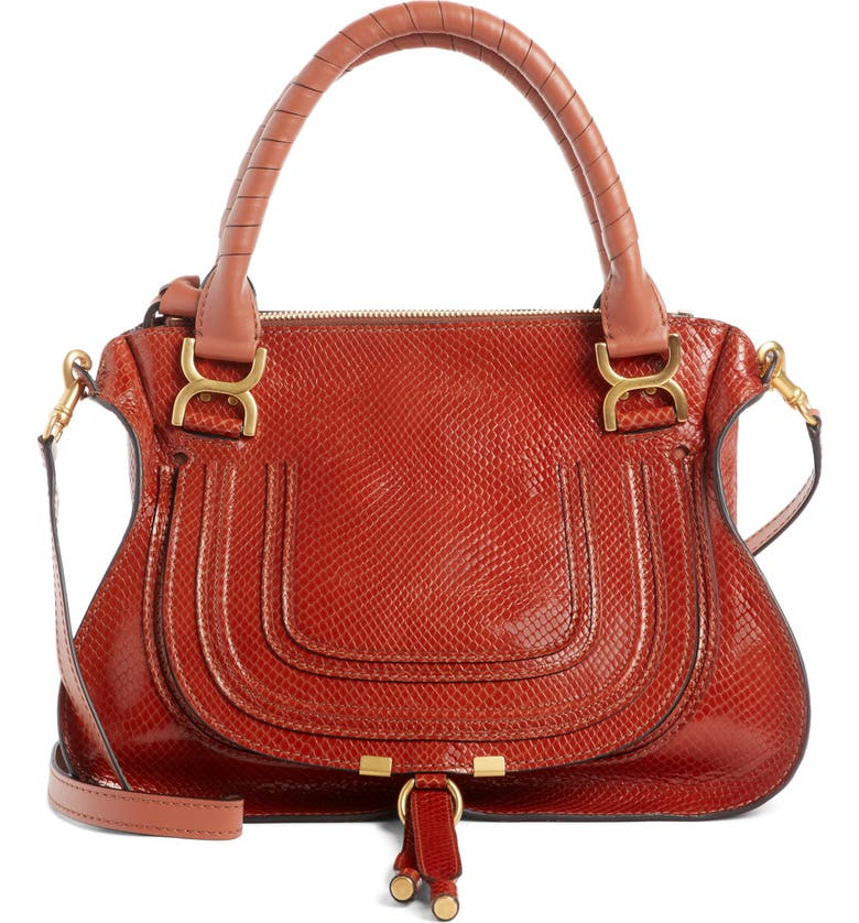 CHLOÉ Marcie Snake Embossed Leather Satchel, Main, color, 205