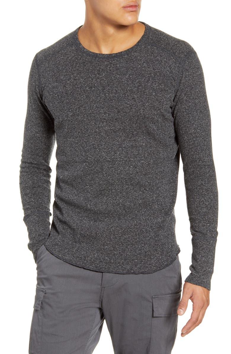 WINGS + HORNS Slub Crewneck Sweater, Main, color, M. BLACK