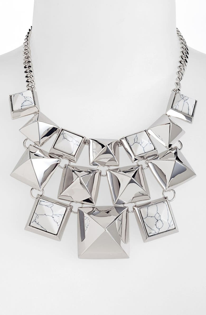 VINCE CAMUTO 'Clearview' Pyramid Statement Necklace, Main, color, 040